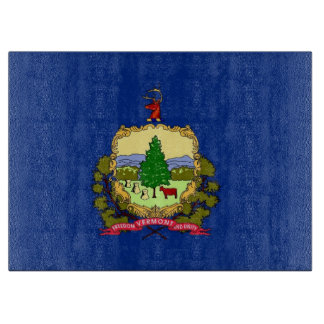 Glass cutting board with Flag of Vermont, USA