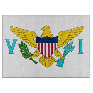 Glass cutting board with Flag of Virgin Islands