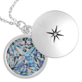 Glass Diamond Medium Silver Plated Round Locket