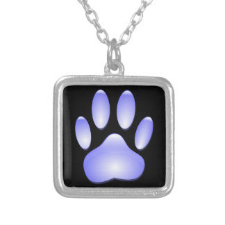 Glass Dog Paw Print Silver Plated Necklace