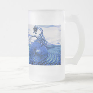 Glass Dragon Blues Frosted Glass Mug