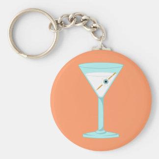 Glass Eye Human Eyeball Martini Basic Round Button Key Ring