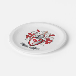 Glass Family Crest Coat of Arms Paper Plate