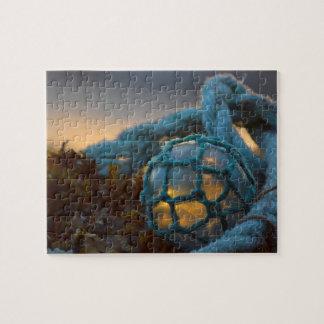 Glass fishing float, Sunset, Alaska Jigsaw Puzzle