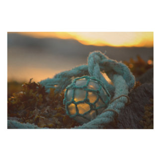 Glass fishing float, Sunset, Alaska Wood Print