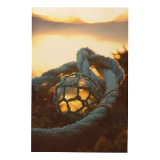 Glass float glows at sunset, Alaska Wood Canvases