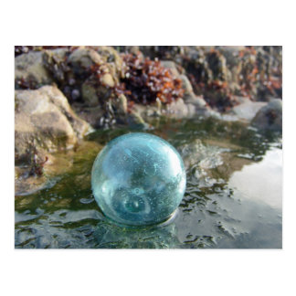 Glass float near tide pool postcard