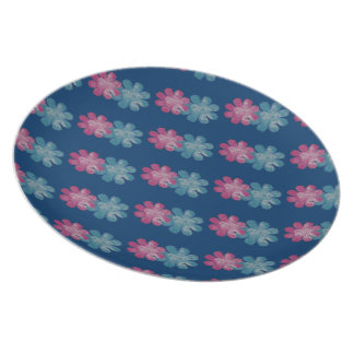 Glass Flowers (pink/teal/navy) Plate