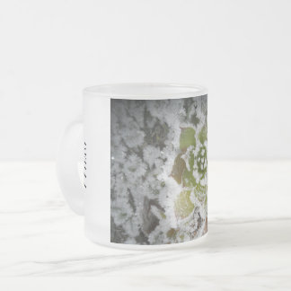 glass frosted natural winter crystals freezes frosted glass coffee mug