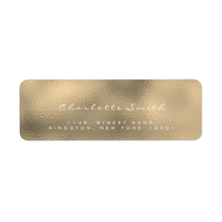 Glass Gold Faux Sepia White Return Address Labels