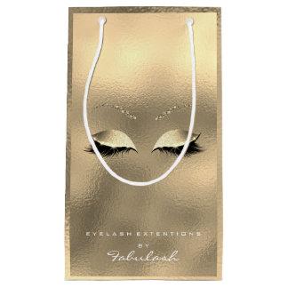 Glass Gold Glitter Makeup Lashes Beauty White Small Gift Bag
