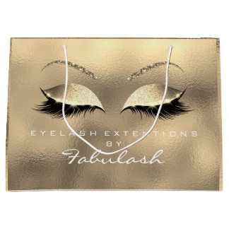 Glass Gold Lashes Blush Makeup White Branding Large Gift Bag