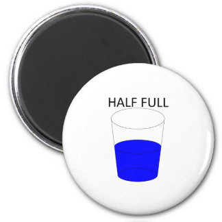 Glass Half Full 6 Cm Round Magnet