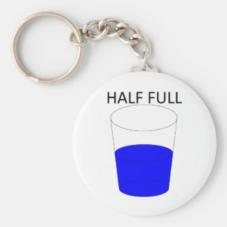 Glass Half Full Basic Round Button Key Ring