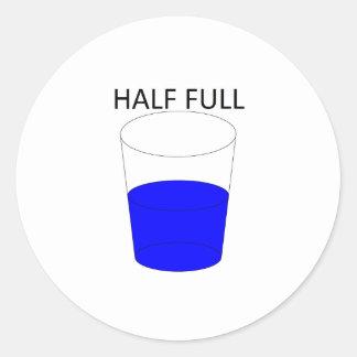 Glass Half Full Classic Round Sticker