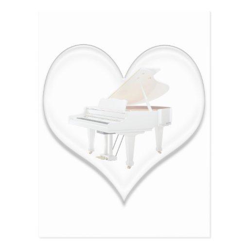Glass Heart White Grand Piano Postcards