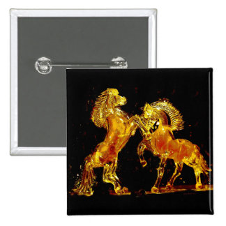 Glass Horses of Venice Italy 15 Cm Square Badge