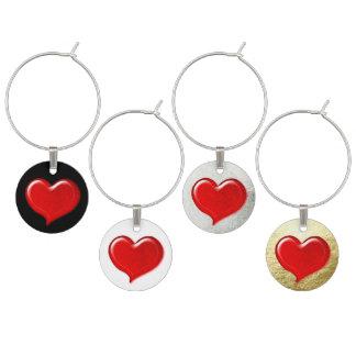 Glass Love Heart Design - Red Wine Charm