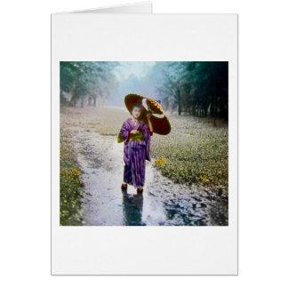 Glass Magic Lantern Slide A JAPANESE GIRL IN RAIN Greeting Card
