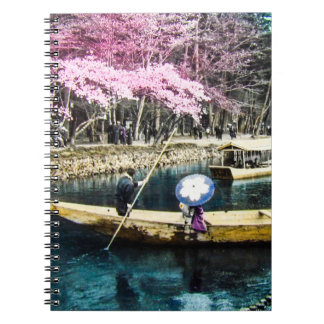 Glass Magic Lantern Slide PICNIC BOATING GEISHA Spiral Note Books