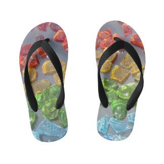 glass mosaic pattern kid's flip flops