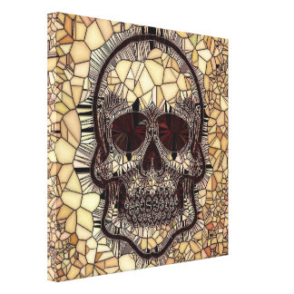 Glass Mosaic Skull,beige Canvas Print