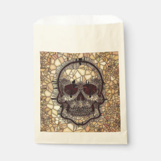 Glass Mosaic Skull,beige Favour Bag