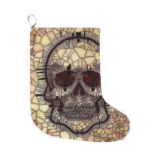 Glass Mosaic Skull,beige Large Christmas Stocking