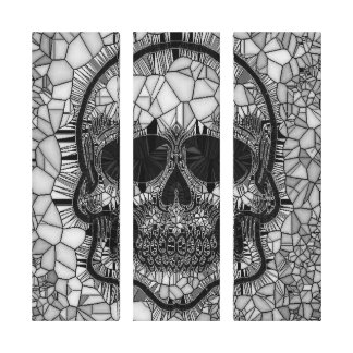 Glass Mosaic Skull, black white Canvas Print