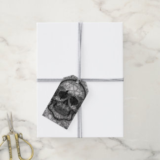 Glass Mosaic Skull, black white Gift Tags