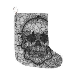 Glass Mosaic Skull, black white Large Christmas Stocking