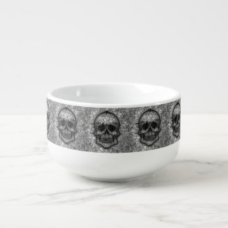 Glass Mosaic Skull, black white Soup Mug
