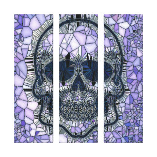 glass mosaic skull, blue canvas print