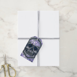 glass mosaic skull, blue gift tags