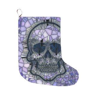 glass mosaic skull, blue large christmas stocking