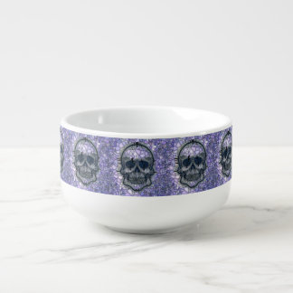 glass mosaic skull, blue soup mug