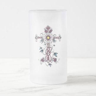 "Glass mug fosco ""floral Crucifix """