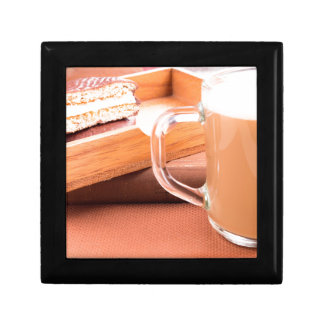 Glass mug with hot chocolate and biscuits gift box