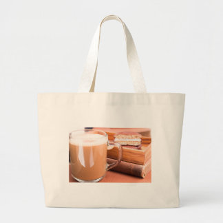 Glass mug with hot chocolate and biscuits large tote bag