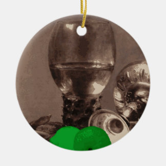 Glass of Alcohol and Limes Round Ceramic Decoration