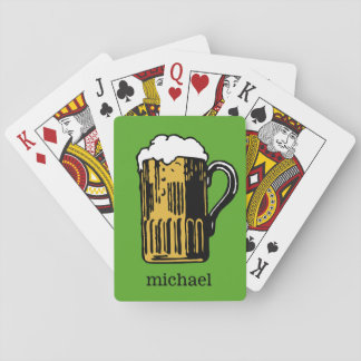 Glass of Beer custom name & color playing cards