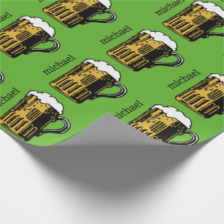 Glass of Beer custom name & color wrapping paper