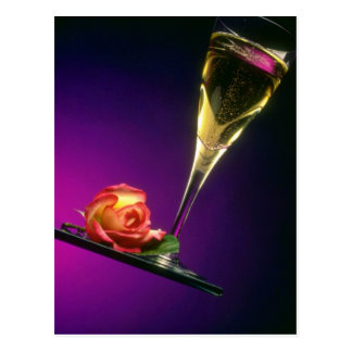 Glass of champagne and flower flowers postcard