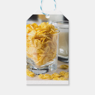Glass of dry cereal and a glass of milk gift tags