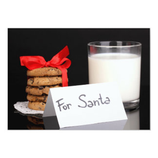 Glass of milk and cookies 13 cm x 18 cm invitation card