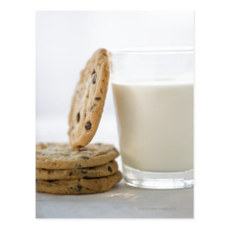 Glass of milk and cookies, close-up postcard