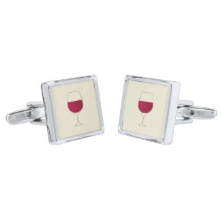 Glass of red wine silver finish cufflinks