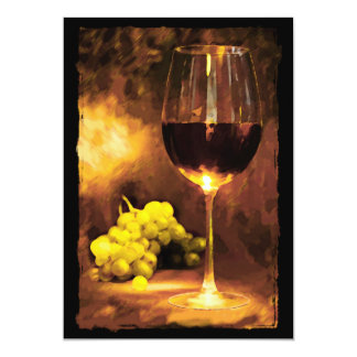 Glass of Wine & Green Grapes in Candlelight Card
