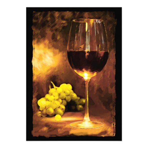 Glass of Wine & Green Grapes in Candlelight Custom Invite