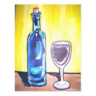glass of wine postcard